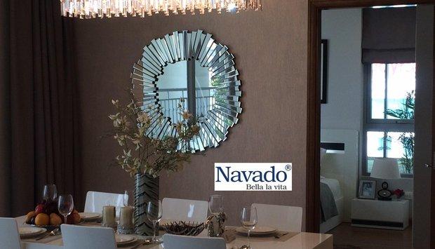 Phòng khách ấn tượng cùng gương trang trí Hà Tĩnh