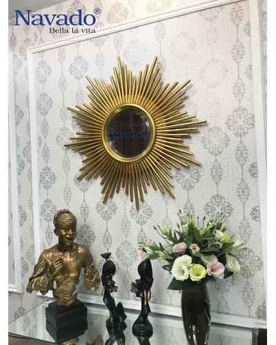 Gương decor home phòng khách sang trọng Aten Golden