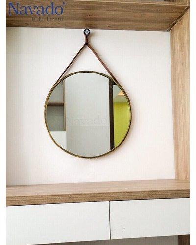 Gương tròn dây da cao cấp Navado 50cm