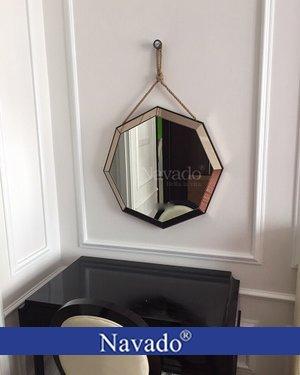 Gương trang điểm bát giác treo dây thừng