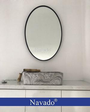 Gương treo phòng tắm Oval viền đen