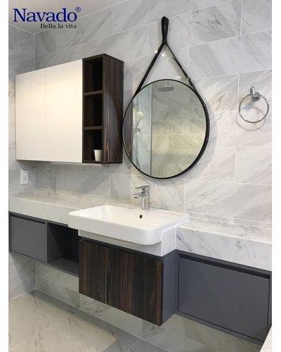 Gương tròn bọc da đen phòng tắm Navado D60cm