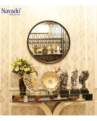Gương phòng tắm nghệ thuật Optima viền đen D80cm
