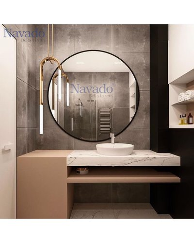 Gương bỉ tròn viền thép mạ phòng tắm navado