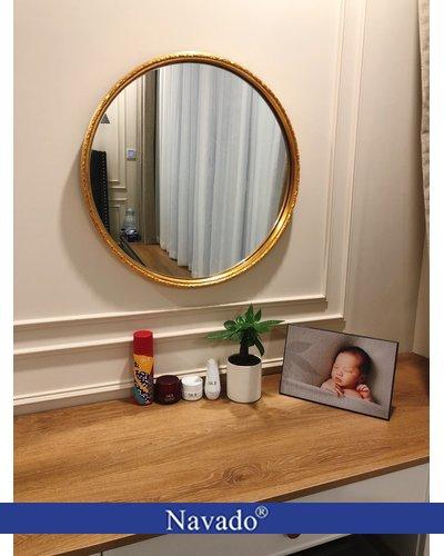 Gương tròn viền vàng hoa văn Oras D60cm Navado