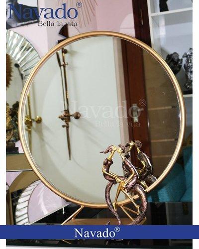 Gương trang điểm để bàn viền vàng D50cm Navado