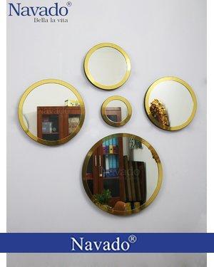 Bộ 5 gương decor home tròn viền vàng navado