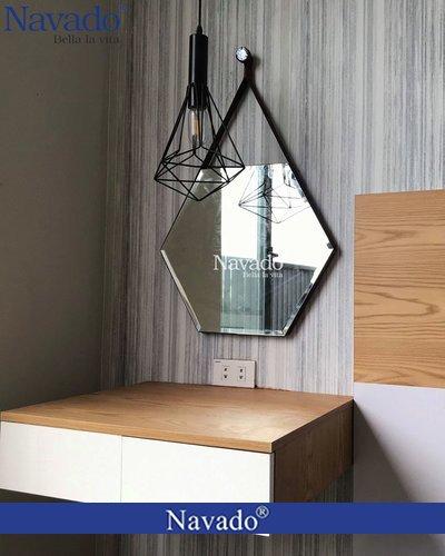 Gương bàn trang điểm treo tường lục giác D50cm