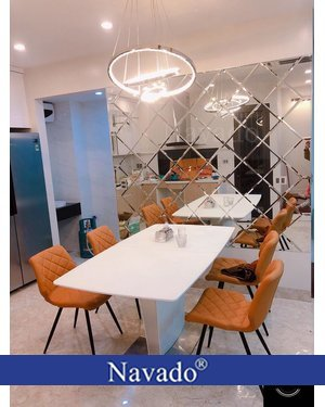 Gương Bỉ ghép ô dán tường nghệ thuật phòng ăn