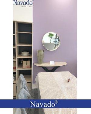 Gương bàn trang điểm viền lớn bọc da trắng