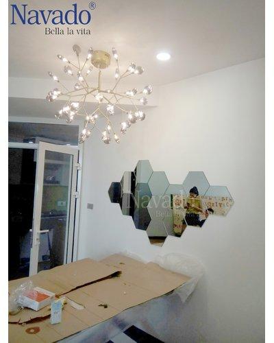 Gương ghép ô lục giác nghệ thuật phòng khách