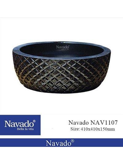 Chậu rửa tay sứ màu đen nghệ thuật Đà Nẵng NAV 1107