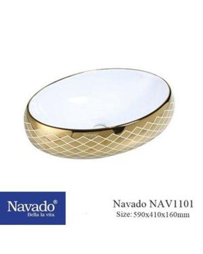 Chậu sứ Lavabo màu đồng cổ điển Quảng Nam NAV1101