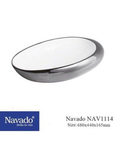 Chậu sứ màu bạc cao cấp Lavabo Quảng Nam Nav1114