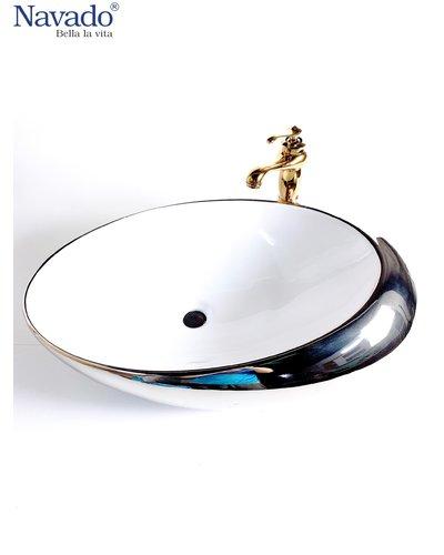 Set chậu sứ bạc kèm vòi rửa sang trọng nghệ thuật Kon Tum 1171WS