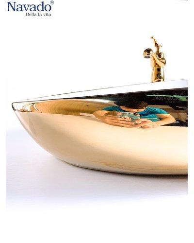 Set chậu sứ vàng kèm vòi cổ điển nghệ thuật Hội An 1171WG