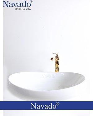 Set vòi và chậu sứ lavabo decor cao cấp Bình Định RS1033
