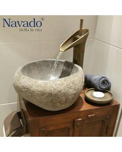 Chậu rửa tay bằng đá cuội thiên nhiên Quảng Nam