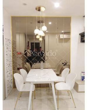 Gương ghép tường viền màu trà Khánh Hòa