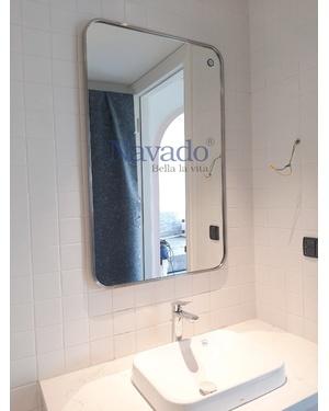 Gương khung inox nhà tắm mạ bạc