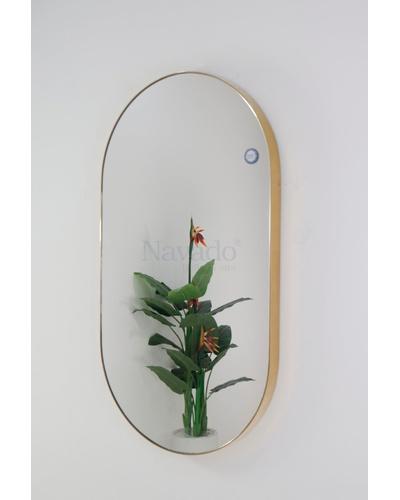 Gương thiết kế oval khung inox mạ vàng cao cấp