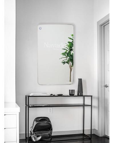 Gương chữ nhật treo tường viền inox bạc