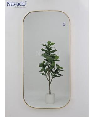 Gương chữ nhật khung inox mạ vàng
