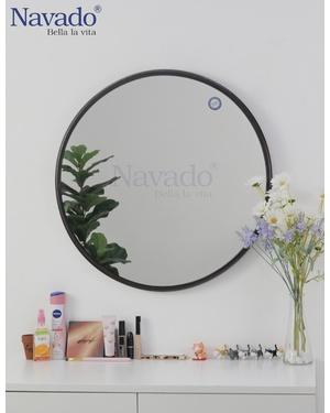 Gương tròn khung thép đen vintage